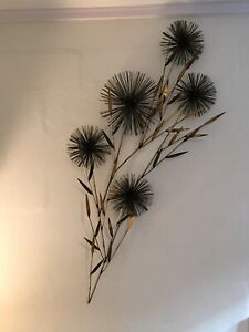 VTG MCM Large Curtis Jere' Pom Urchin  Wire Wall Art Sculpture Metal Flowers