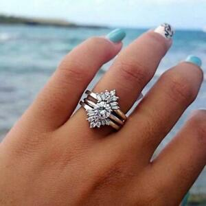 Pave CZ 925 Sterling Silver GP 3 Layers Engagement Promise Solitaire Ring RS67
