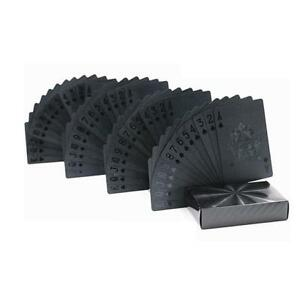 Black Plastic PET Poker Cards Waterproof Magic Playing Shower Cards Set LT