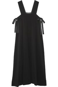 HELMUT LANG Side Tie Square Neck Midi Dress in Black Size 0 XS - $595