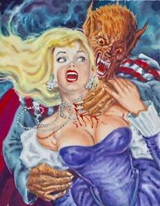ORIGINAL PULP HORROR ILLUSTRATION MEXICAN COVER ART GIRL WOMAN PINUP PAINTING $798.49
