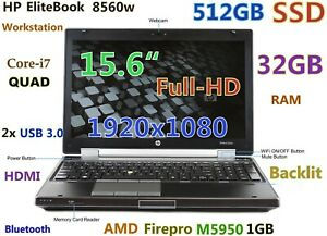 (3D-Design FHD) HP 8560w i7-QUAD (512GB SSD 32GB) 15.6 nVIDIA BT FP Backlit