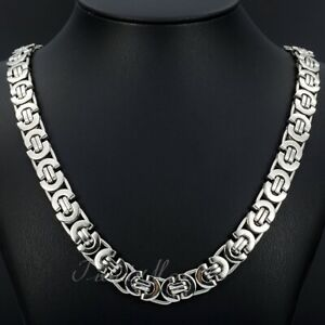 11mm Men#x27;s Silver Flat Byzantine Chain Necklace 316L Stainless Steel 18quot; 36quot;