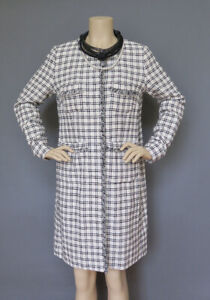 *Max Mara Ivory Light Tweed Style Plaid Coat Size M Size 8 MSRP $650