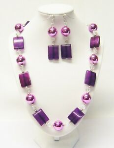 Acrylic Purple Rectangle/Round Bead Strand Necklace & Earrings Set