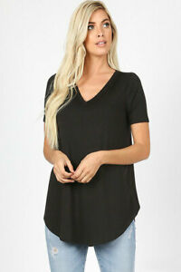 Zenana Outfitters Women's Relaxed Fit V Neck Round Hem Top Black