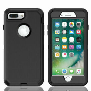 Black Defender Case With Screen Protector & Belt Clip For iPhone 7 Plus & 8 Plus