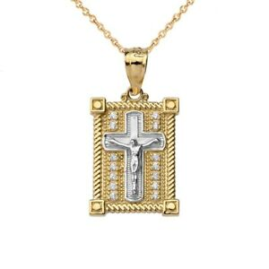 Solid Gold Diamond Boxed Cross Pendant Necklace In Two Tone (Yellow White Rose)