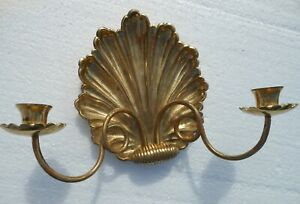 """Candle Stick Holder Scone Brass Sea Shell Wall Hanging 12 by 8"""""""