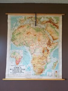 Antique 1961 African Political Communications Wall Map Philips' Series 44