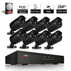 ANRAN Camera System Security Home 8CH 1080P CCTV Outdoor HDMI NVR 2TB Kit POE HD