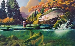 Rainbow trout S N W Dowdy Art Lithograph bird Ducks Unlimited artist salmon $24.97