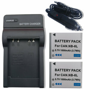 2X Battery NB-6L +charger FOR Canon PowerShot D10D20S90S95SX240 HSSX500 IS