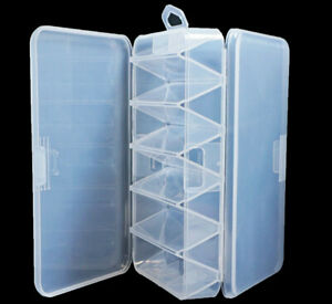 Double Sided Fishing Lure Tackle Box Fishing Storage Transparent Plastic Case