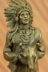 Rare Indian Native American Art Chief Ox Head Bronze Marble Statue Sculpture NR