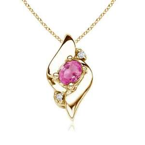 0.19ct Best AAA Pink Sapphire Diamond Pendant Necklace Silver Gold Platinum