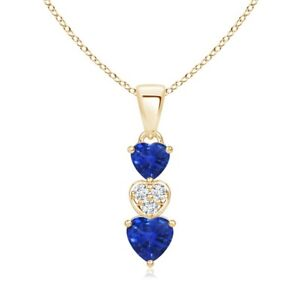0.8ct Best AAA Blue Sapphire Diamond Pendant Necklace Silver Gold Platinum