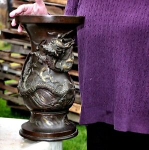ANTIQUE JAPANESE PRE MEIJI BRONZE DRAGON GU FORM VASE 23 LBS
