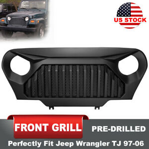 Matte Black Front Grille Pre-Drilled Angry Bird for Jeep Wrangler TJ 1997-2006