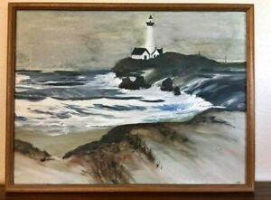 Vintage lighthouse Painting Framed Artist Unknown $2500.00