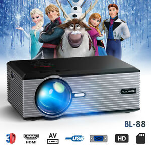 3D LCD LED Projector Multimedia HD 1080P 5000Lumens Home Theater Cinema USB HDMI