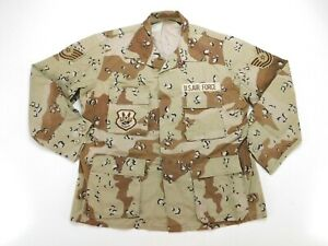 US Air Force TSgt Military 6 Color Desert DCU Chocolate Chip Camo Coat L Large R