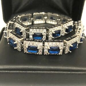 Gorgeous Blue Sapphire Diamond Bracelet Women Wedding Engagement Jewelry Gift