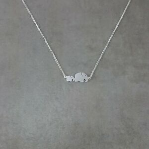 Baby and Mother Elephant SILVER Plated Dainty Animal Necklace in Gift Box Family $17.56
