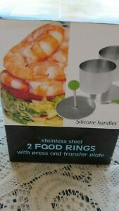 2 FOOD RINGS (MOLDS TRANSFER PLATE, PRESS W BOX SS SILICONE HANDLES 2 3/4