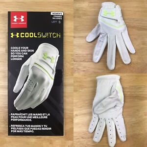 Under Armour  Women's Cool Switch Golf 1 Glove White Lime Fizz Left Size Small