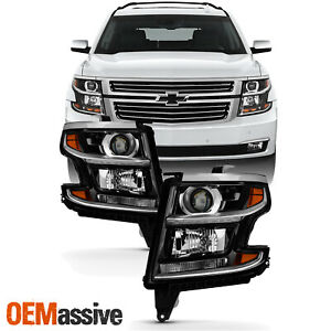 Fit [Halogen] 2015-2017 Chevy Suburban Tahoe LED Black Headlights Replacement