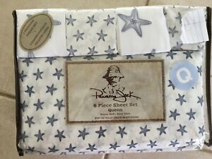 Panama Jack Queen King Sheet Set Starfish Sea Star Embroidered 6 Piece Set Blue
