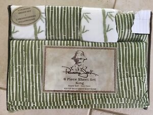Panama Jack Embroidered 6 Piece Sheet Set Bamboo Green King