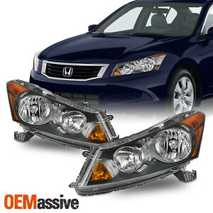 For 2008 2012 Honda Accord 4Door Black Headlights with Amber Corner Signal Pair