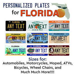 FLORIDA Personalized Custom License Plate Tag for Auto Car Bicycle ATV Bike etc $17.99
