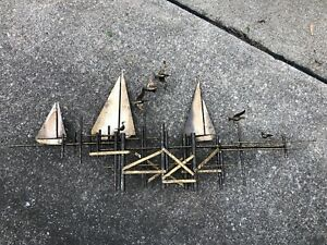 Fantastic C JERE SIGNED Metal Brass Wall Sculpture Mid Century BOATS SHIPS BIRDS $2,429.99