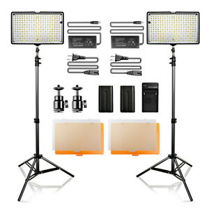 Travor 2 PACK TL-240 Dimmable LED Video Light for Camcorders Lighting Kits