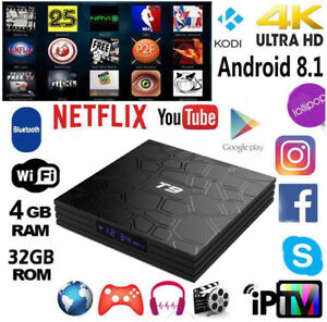T9 4GB+32GB TV BOX Android RK3328 Quad Core WiFi 3D Media BT4.0 Home Player US