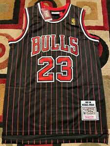 23 Michael Jordan Chicago Bulls Black Pinstripe Mens Throwback Jersey Hardwood