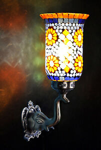 Indian Turkish Glass Decorative Blue Wall Light Lamp Scones 8 x 13 Inches