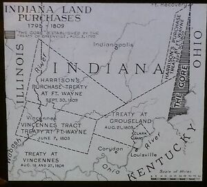 Indiana Land Purchases Magic Lantern Glass Slide (Pageant of America Map)