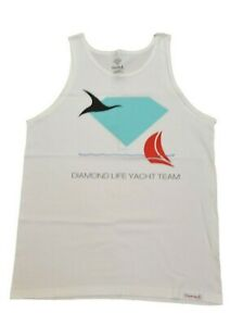 Diamond Supply Co. YACHT TEAM White Black Mint Red Discounted Mens Tank Top $17.99