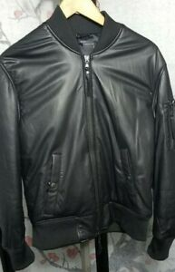 Authentic Diesel Black Gold Bomber Leather Jacket 48 Small Italy
