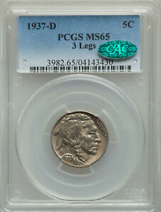 Rare Key Date 1937-D 5C Three-Legged PCGS MS65 CAC Affirmed GEM Buffalo Nickel!!