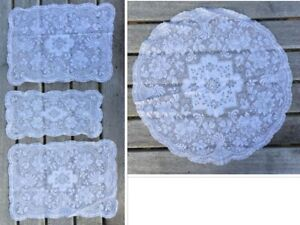 Vintage Doily Set - Rectangle Round - Lace - Lot of 4 doilies - Antique White