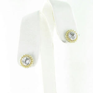 Lagos Signature Color White Topaz Stud Earrings 6mm 18K Yellow Gold Sterling New