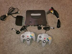 Nintendo 64 Console With 2 Gray Official Controllers