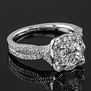 1 Carat Round Cut DVS2 Diamond Solitaire Engagement Ring 14K White Gold