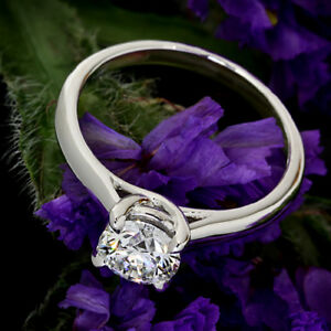 Solitaire .34 Carat VS2G Round Cut Diamond Engagement Solitaire Ring White Gold