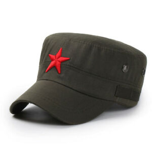 Red Star Army Embroidery Bone Cap Black Army Green Flat Top Hat for Men 3D ?